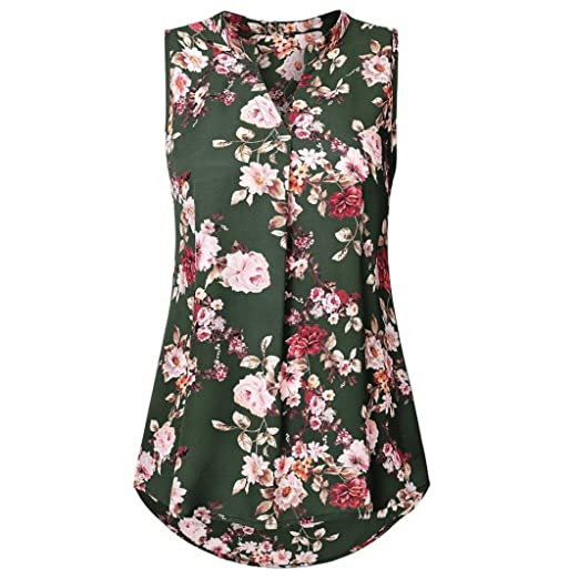 9e67c34c8dd Easytoy Women s Henley V Neck Sleeveless Curved Hem Chiffon Floral Blouse  Shirts Tank Tops (Green