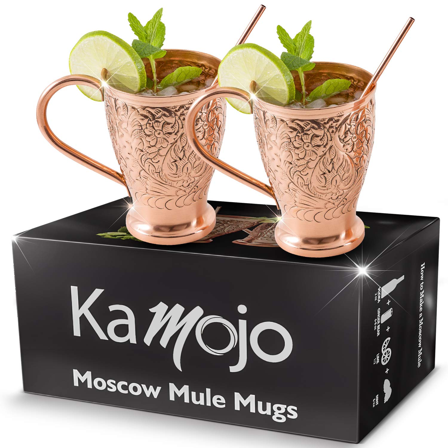 Moscow Mule Copper Mugs - Stunning Embossed Gift Set of 2 Pure Copper Cups - Bonus Straws/Stir Sticks/Recipes - Gift Set By Kamojo by Kamojo