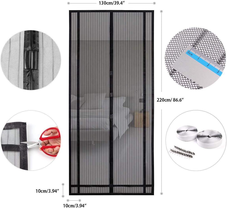 Sekey 220x130 cm magnético cortina para protección contra insectos, magnético Mosquitera para puerta para balcón, sótano Puerta, terrazas para puerta (se puede cortar en altura y ancho), Negro: Amazon.es: Bricolaje y herramientas