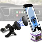 "iTALKonline Case Compatible Multi-direction (Use with or without your existing case!) Black Magnetic Air Vent In Car Holder for Alba 2.8"" Inch Mobile Phone"