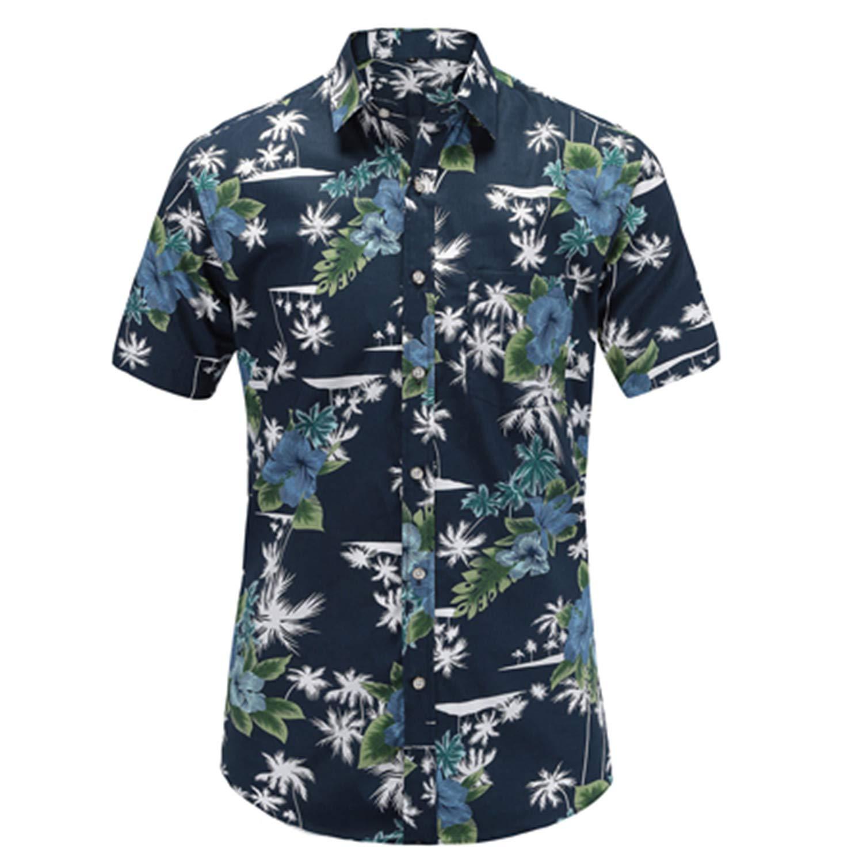 Summer Hawaiian Short Sleeve Shirt Men Men Shirts Cotton Floral Printed Casual Dress Shirts Men Clothes 2019