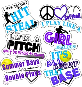 Softball Stickers, Perfect Softball Helmet Stickers, Anywhere You Need Softball Stickers for Water Bottle, Laptop, Car Decal, Waterproof Durable 100% Vinyl