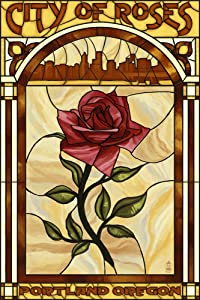 Portland, Oregon, Rose and Skyline Stained Glass (12x18 Art Print, Wall Decor Travel Poster)