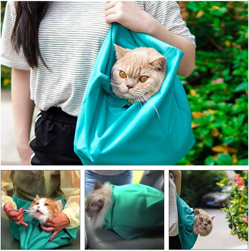 XIAMUSUMMER - Bolsa de transporte segura para mascotas domésticas, bolsa de transporte segura para adaptarse a perros y gatos de tamaño mediano, correa para el hombro Domestico, corte de uñas – azul