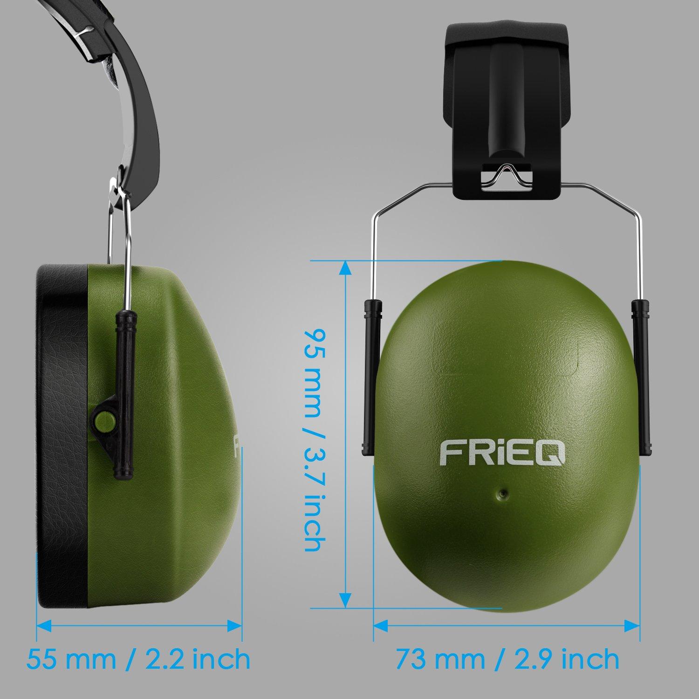 FRiEQ 37 dB NRR Sound Technology Safety Ear Muffs with LRPu Foam for Shooting, Music & Yard Work, Green by FRiEQ (Image #8)