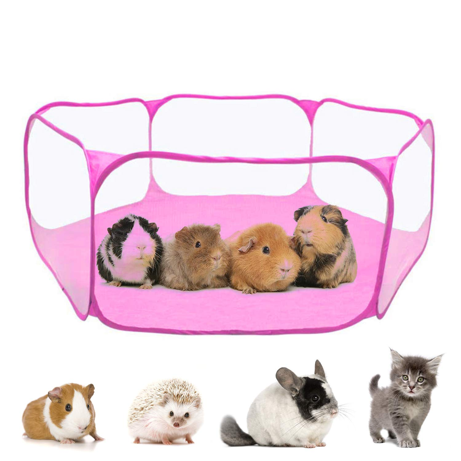 RYPET Guinea Pig Playpen - Breathable & Transparent Pet Playpen Pop Open Outdoor/Indoor Exercise Fence, Portable Yard Fence for Guinea Pig, Rabbits, Hamster, Chinchillas and Hedgehogs