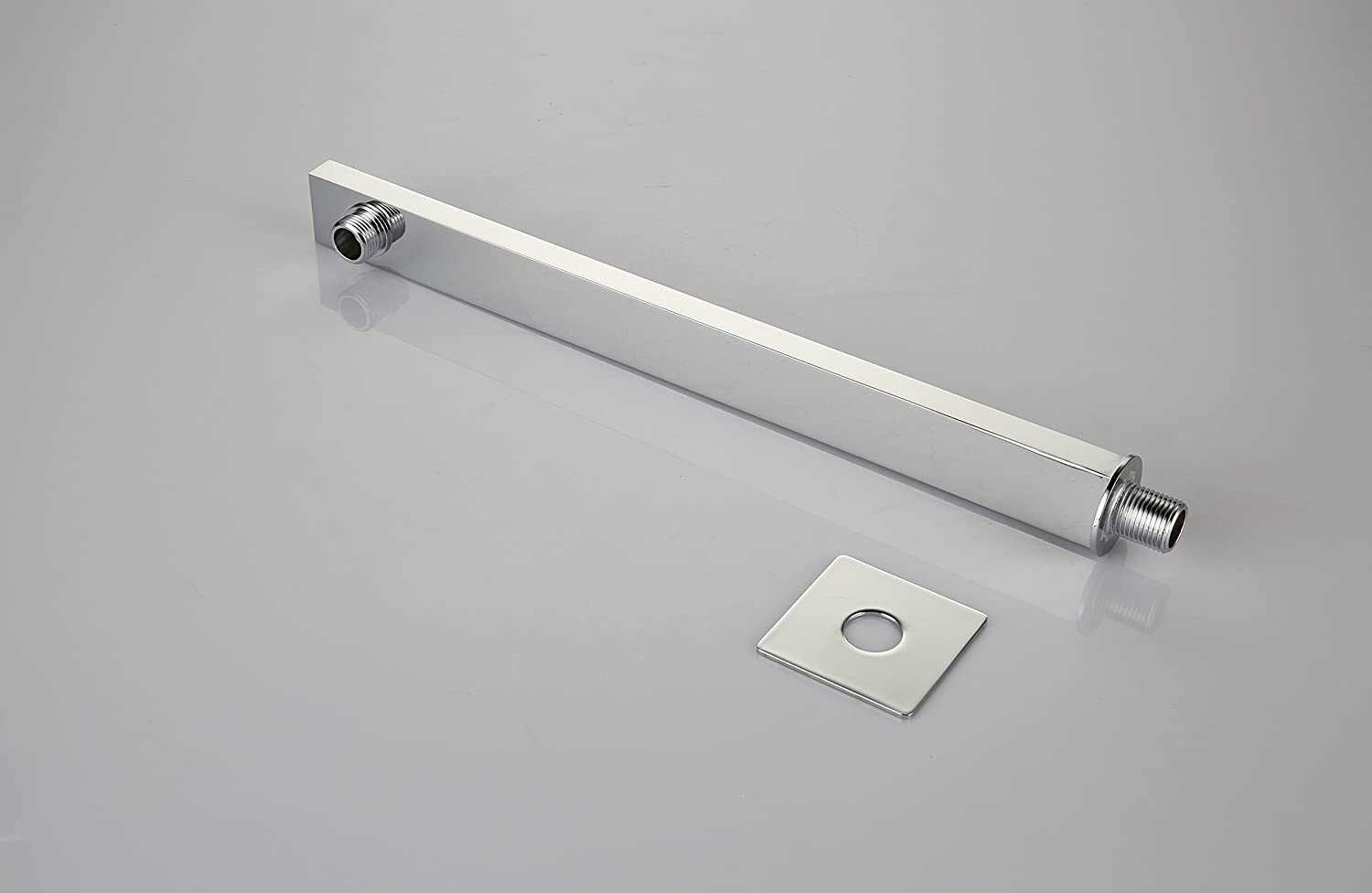 Polished Chrome Kelica Stainless Steel Bathroom Square Shower Arm With Flange 17-inch