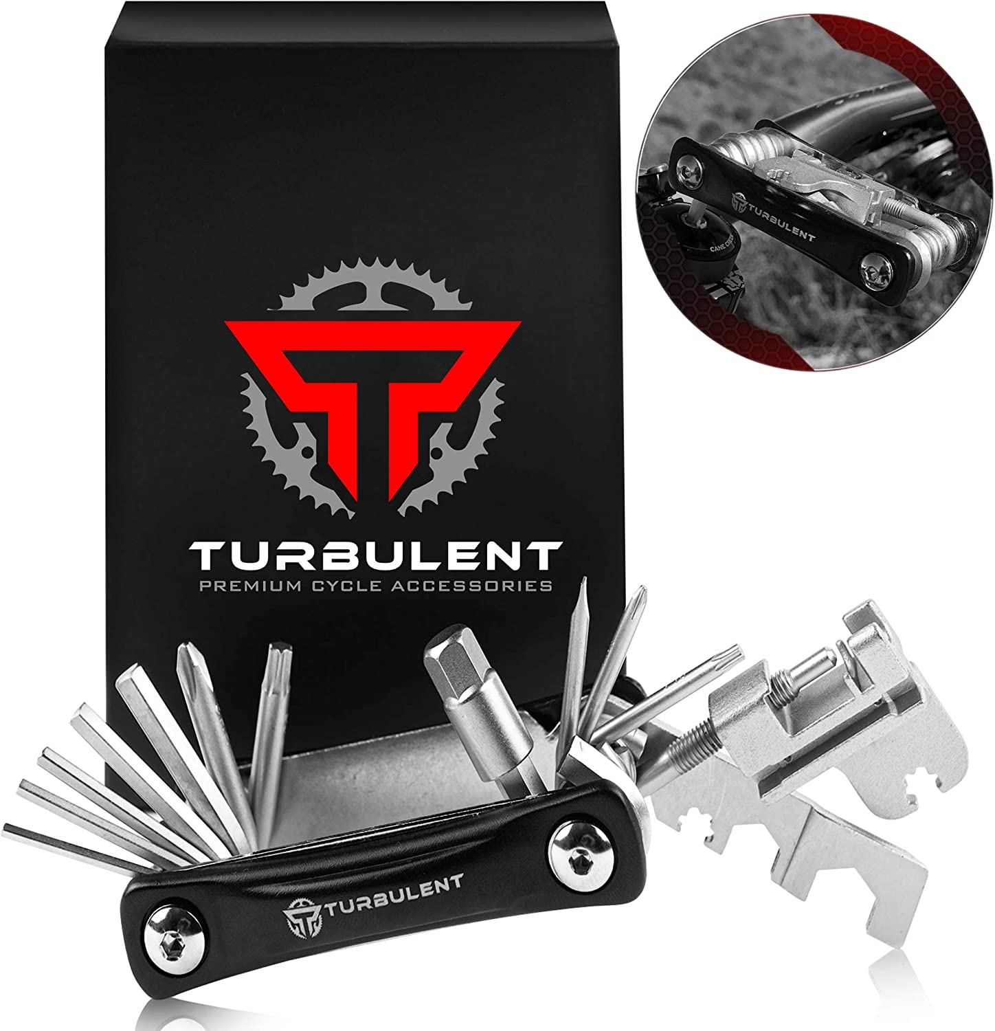 Turbulent Universal Bike Multitool - The Ultimate 23 in 1 Portable Sized Tool Kit with Chain Breaker, Allen Keys, Spoke Tool and More - Heavy Duty Multi Function Bicycle Repair Tool: Home Improvement