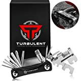 Turbulent Universal Bike Multitool - The Ultimate 23 in 1 Portable Sized Tool Kit with Chain Breaker, Allen Keys, Spoke…