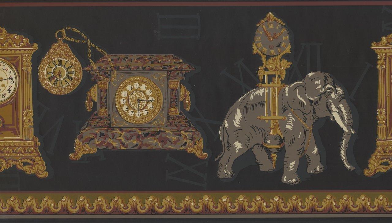 Antique Clocks Elephant Charcoal Grey Extra Wide HG9201B Wallpaper Border