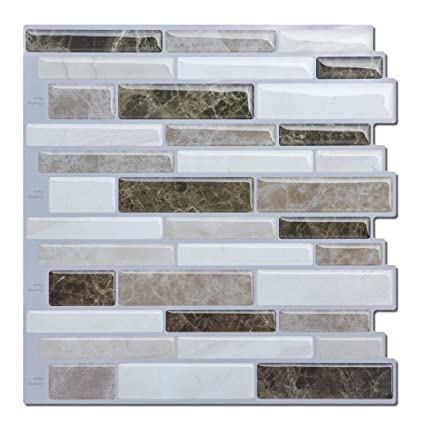 Peel and Stick Backsplash Tile for KitchenBeige and Brown Mosaic Tile Backsplash (4