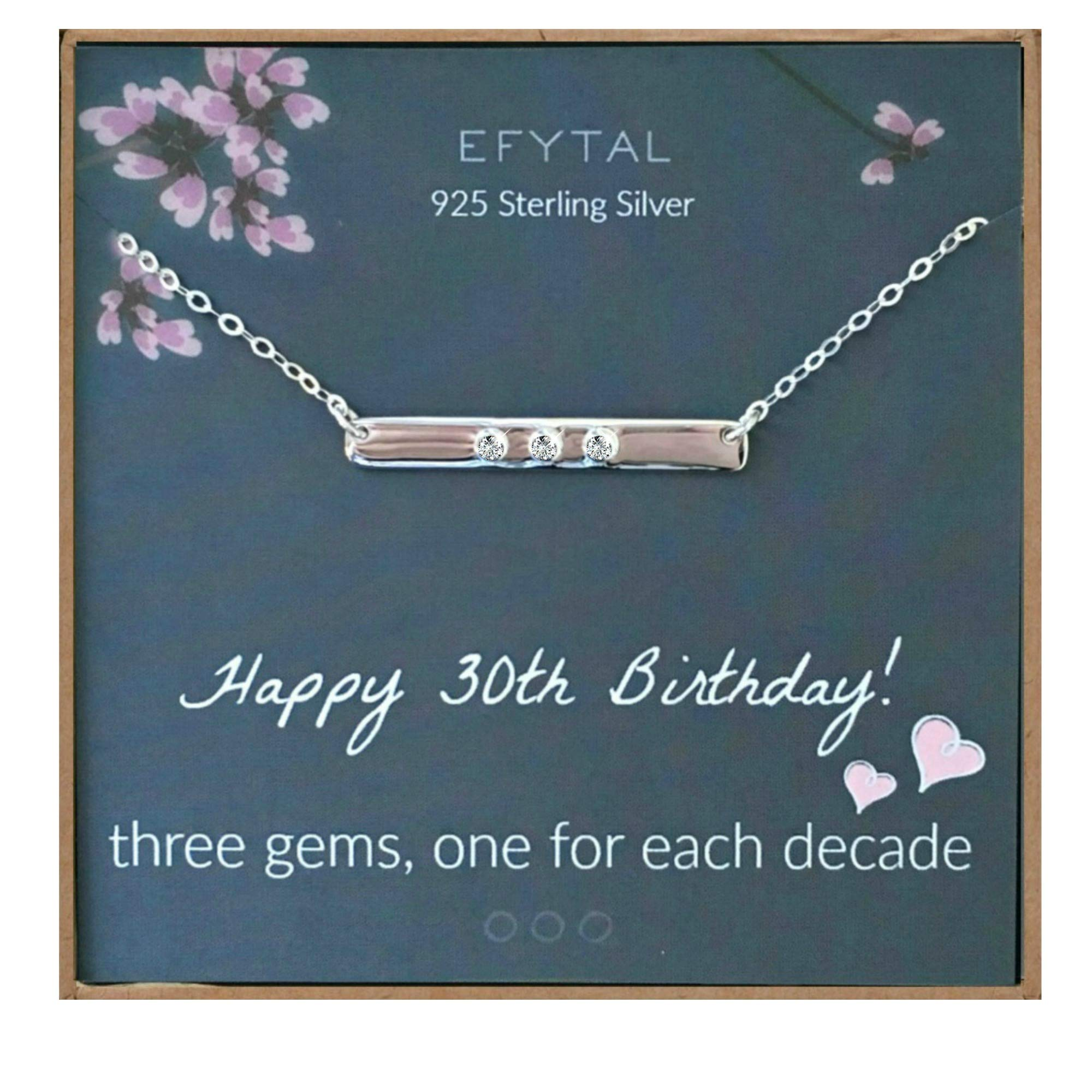EFYTAL 30th Birthday Gifts for Women, 925 Sterling Silver Three CZ Bar Necklace For Her, 3 Decade Jewelry 30 Years Old by EFYTAL