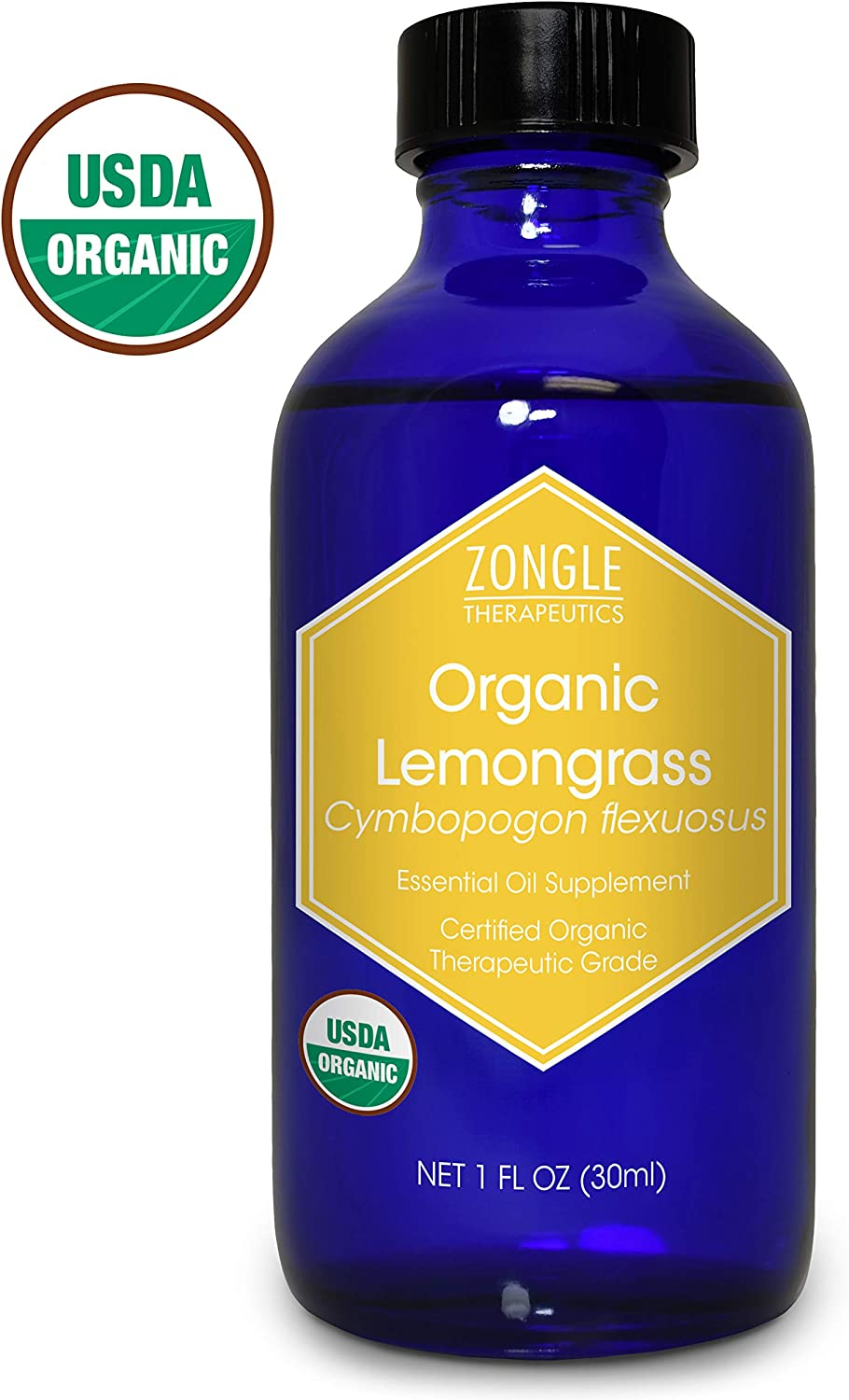 Zongle USDA Certified Organic Lemongrass Essential Oil, Safe to Ingest, Cymbopogon Flexuosus, 1 OZ