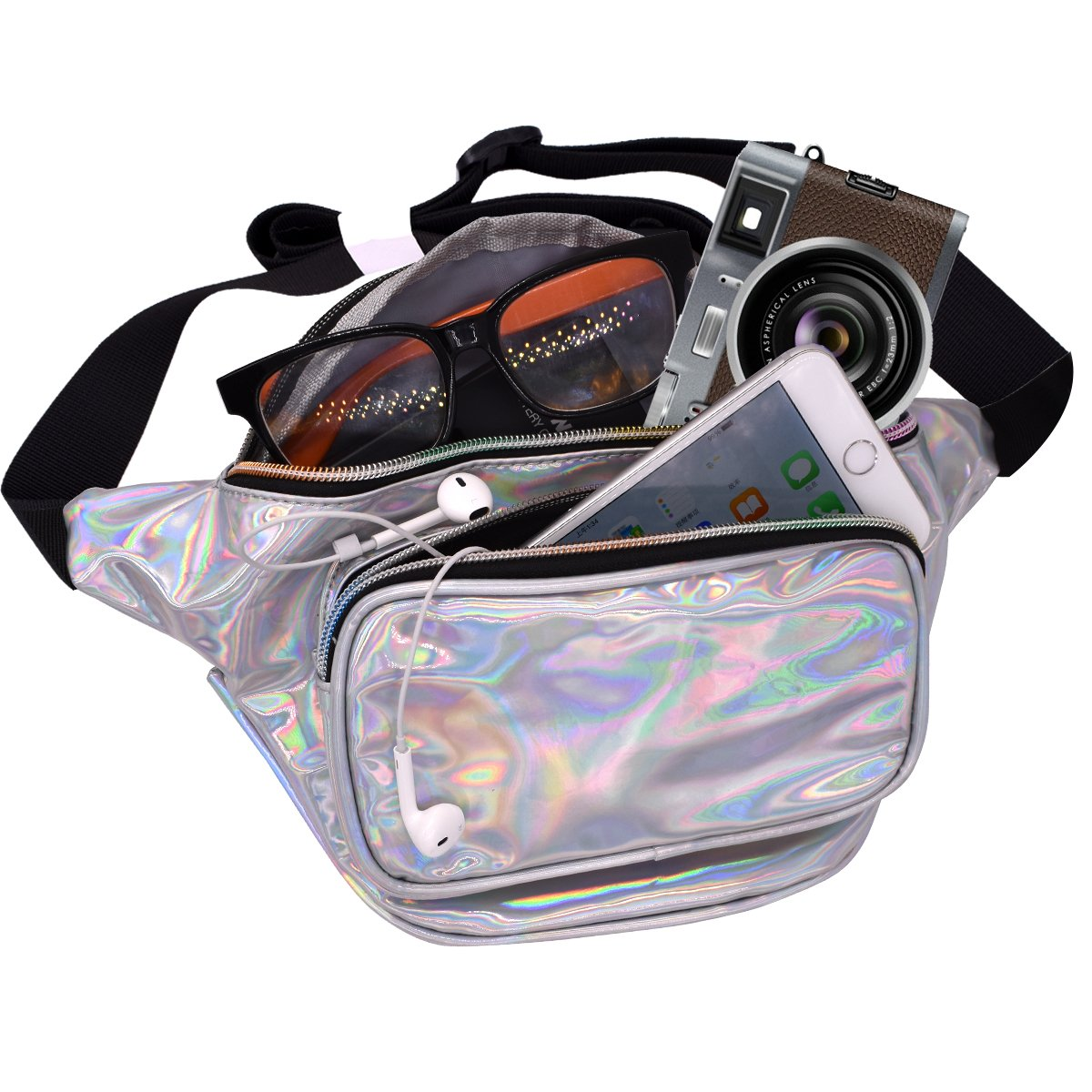 Water Resistant Shiny Neon Fanny Bag for Women Rave Festival Hologram Bum Travel Purse Waist Pack
