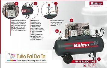 Compresor balma bicilindrici lt.200 motor trifásico, con capacidad de depósito: Amazon.es: Jardín