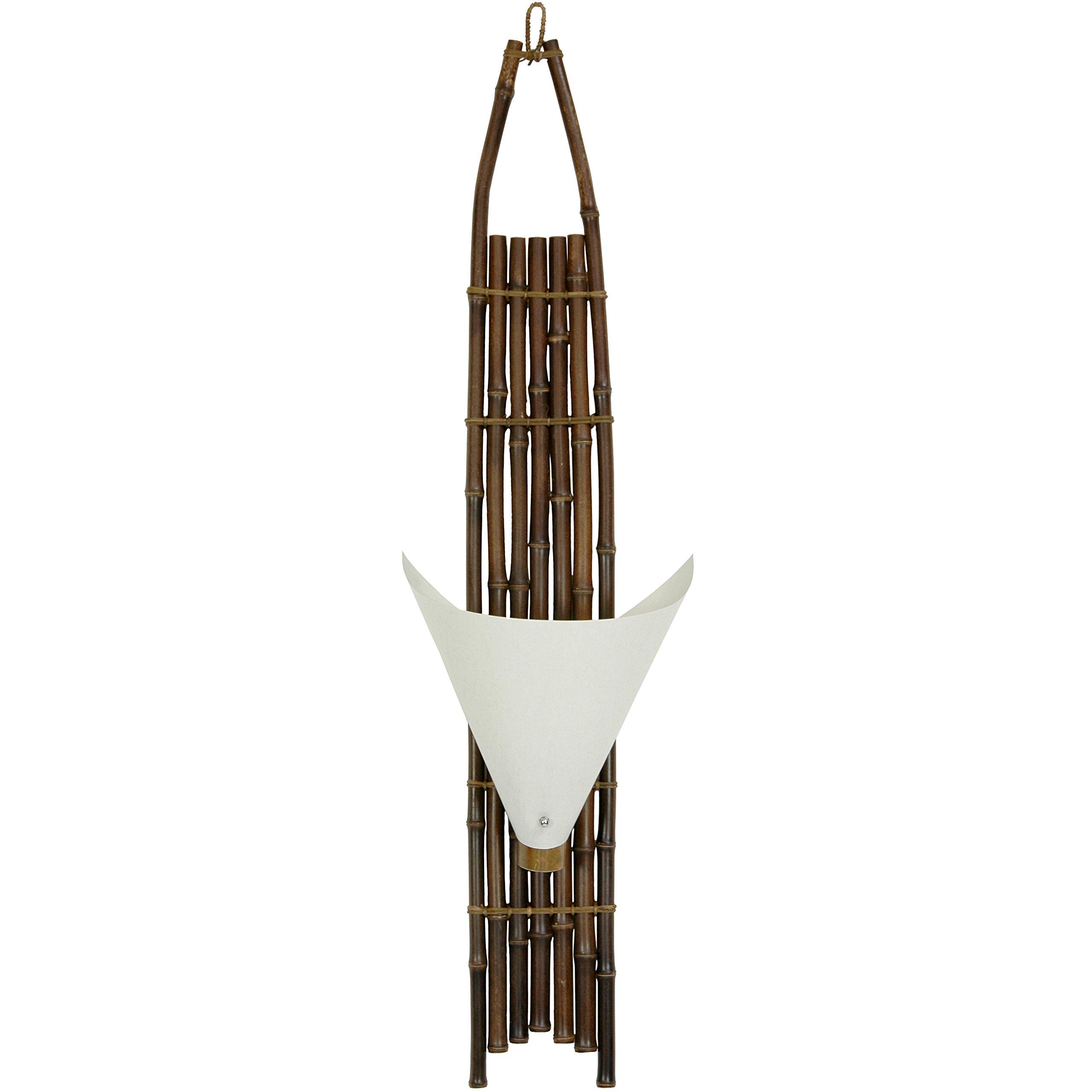 Oriental Furniture 39'' Baku Japanese Bamboo Wall Sconce - Dark