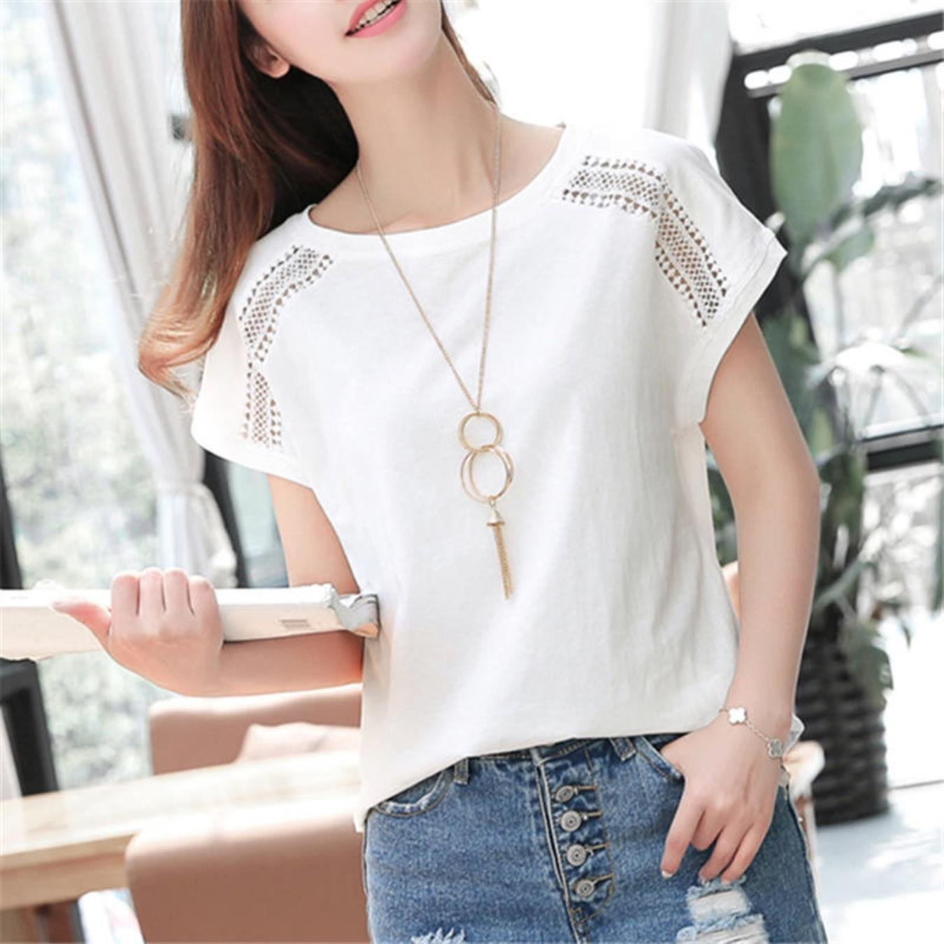 Cotton Summer Blouses Lace Batwing Sleeve Shirts For Womens Tops Shirts Plus Size Women Clothing Korean