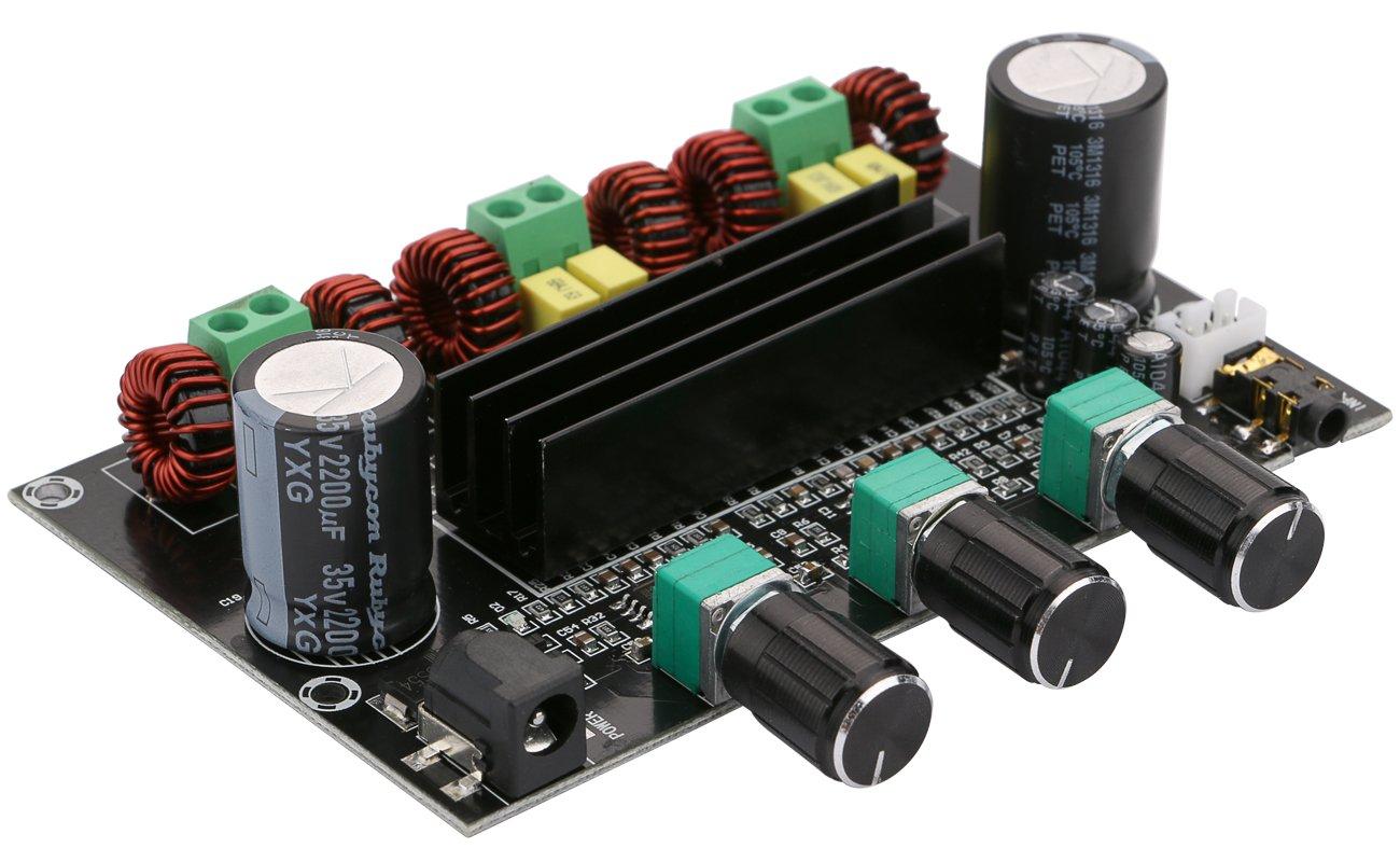 Digital Power Amplifier Board, Yeeco DC 12-26V Car Audio Sereo Amplifier AMP Module DC 12-26V 2x80W+100W for Audio System DIY Speakers with Volume Knob, Heatsink, 3.5mm Audio Input/DC Connector