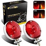 """Partsam 2x 4"""" Double Face Red/Amber Lens 24 LED Turn Tail Stop Light Pedestal Mount 12V for Peterbilt Freightliner Kenworth Mack"""