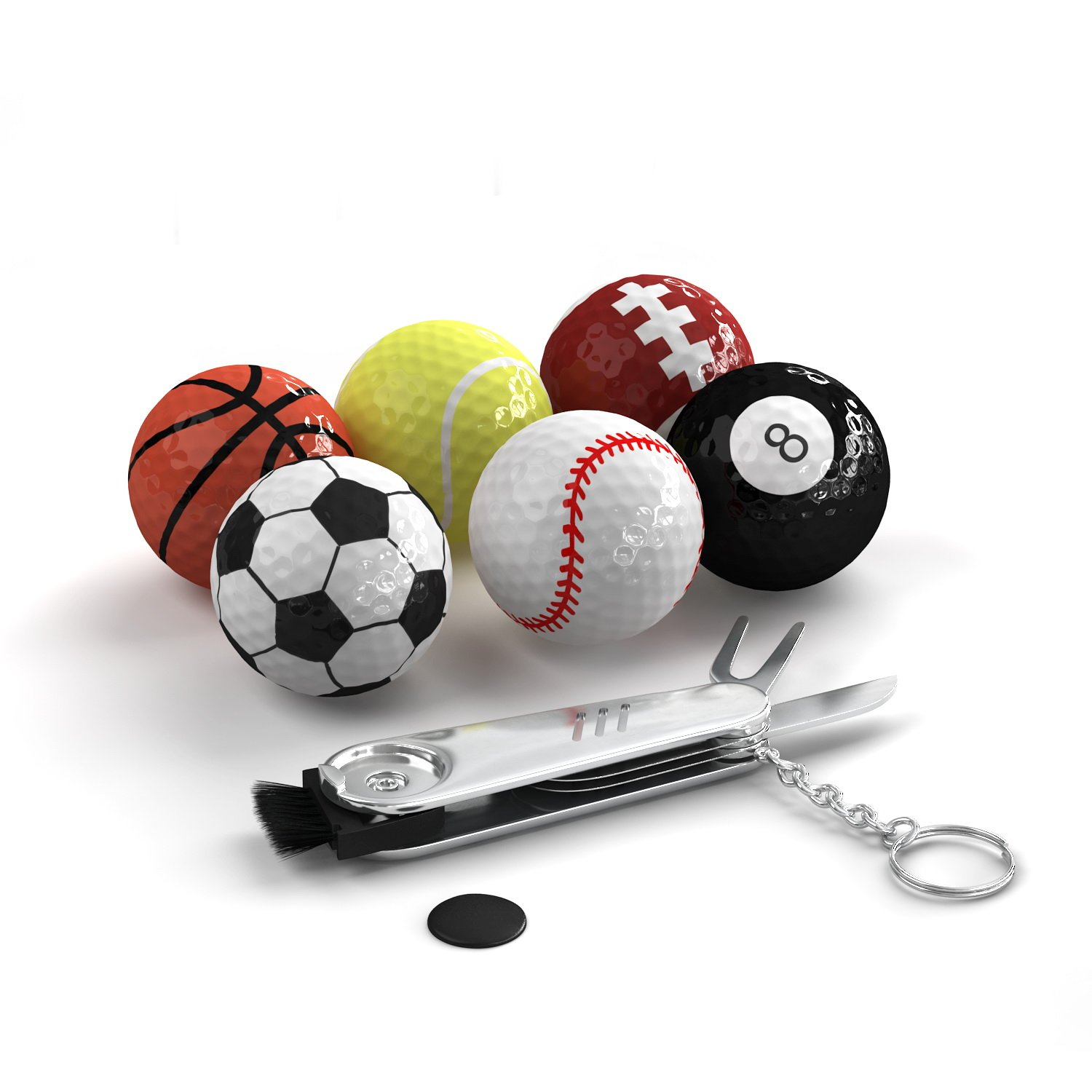 Trained Sports Themed Golf Balls Set By Pack Of 6 Novelty Balls With Multifunction Golf Tool, Gift Idea For Golfers For Every Occasion, Unique And Fun Design