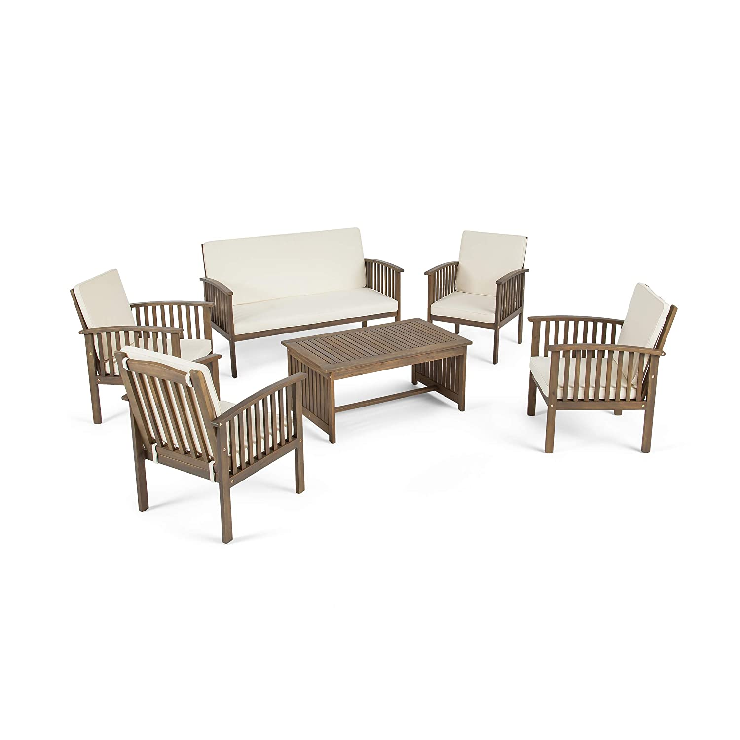 Great Deal Furniture Parry Outdoor 6-Seater Acacia Wood Chat Set, Gray Finish and Cream