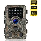 Heegomn Trail Camera 1080P Full HD 16MP Game Scouting Hunting Camera with 0.2s Trigger Time 120 Wide Angle Night Vision Up to 60ft WaterProof Stealth Cam for Widelife Hunting and Home Security