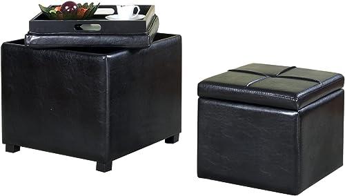 Furniture of America Dellos Leatherette Storage Ottoman