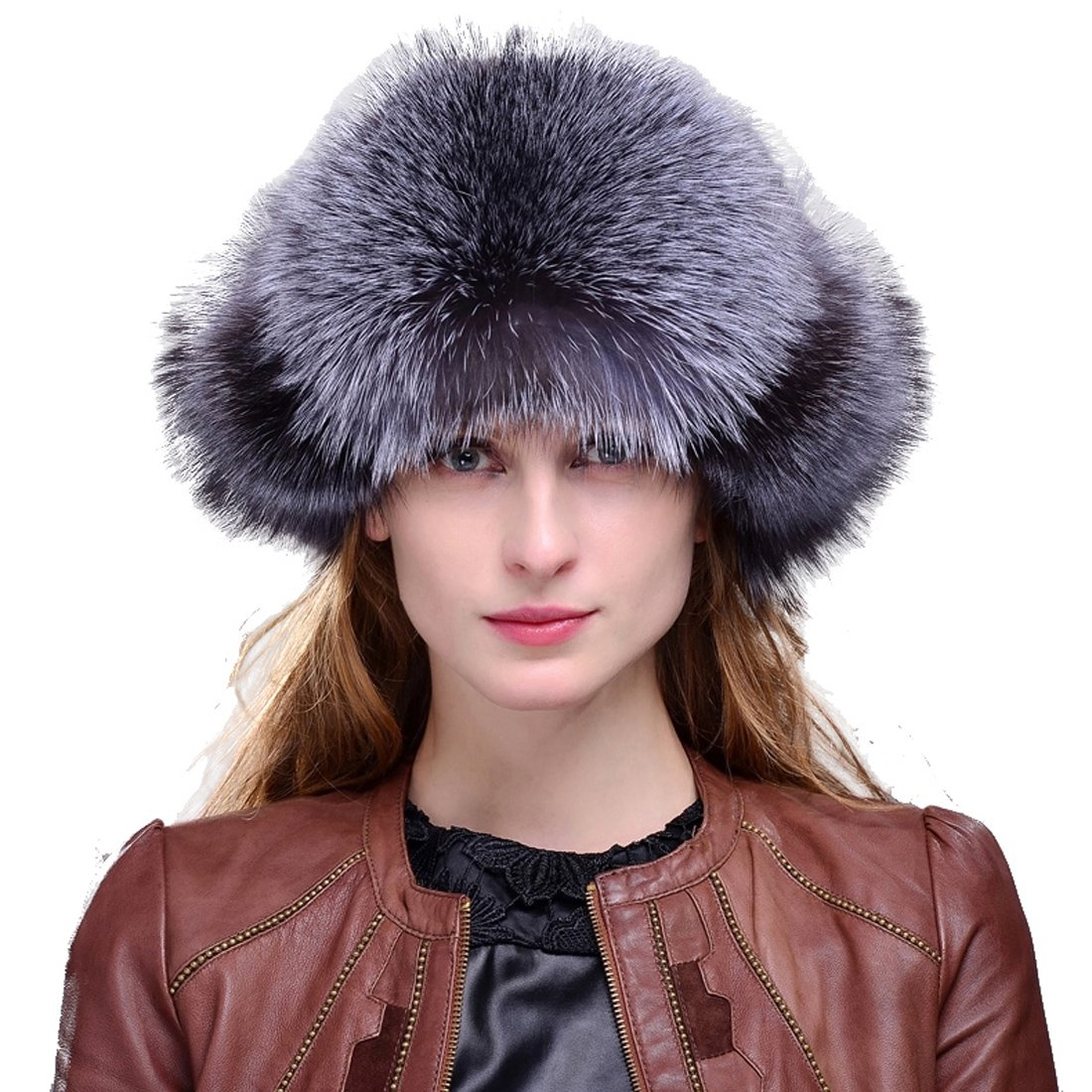 Women's Silver Indigo Fox Fur & Leather Russian Ushanka Hat with Fox Pom Poms Natural Color