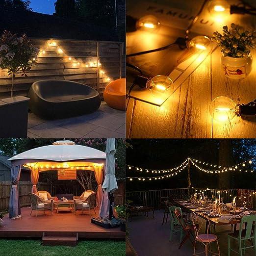 Solar Guirnaldas Luminosas de exterior 25FT 7.6M 4400mAh 2200K Luz ámbar 25 zócalos 27 G40 Bombillas LED, Luces decorativas románticas para exteriores para Patio, Terraza, Pérgola, Luces de paraguas: Amazon.es: Iluminación