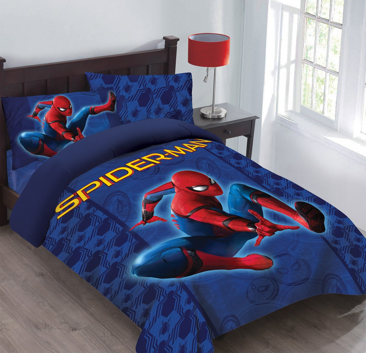 Marvel Spiderman Friendly Neighborhood Full Comforter Set with Fitted Sheet