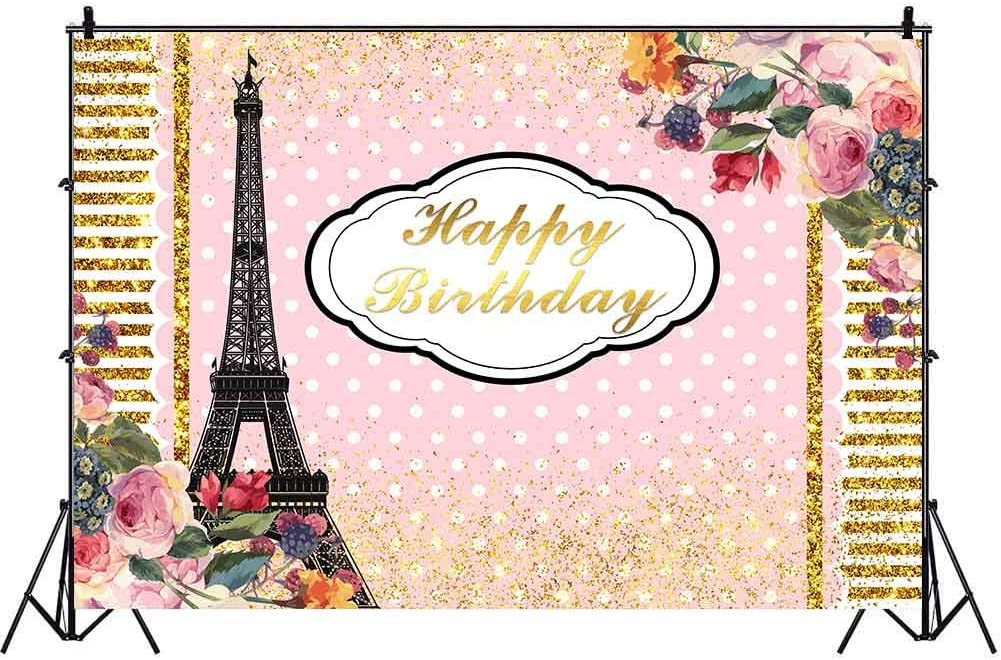 Paris Themed Birthday Party Backdrop Eiffel Tower Pink Floral Background 9x6ft Photo Booth Banner for Cake Table Supplies BJLSVV114