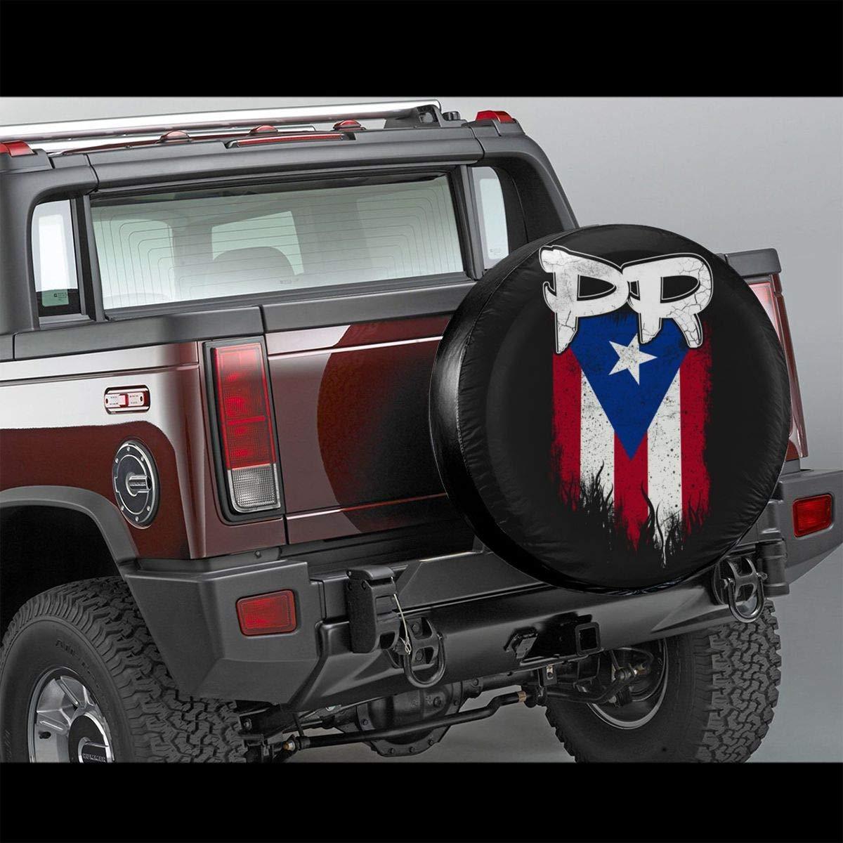 Zoe Diro Puerto Rico Pr Flag Waterproof Spare Tire Cover Fits for Jeep Trailer RV SUV Truck Camper Travel Wheel Covers Accessories