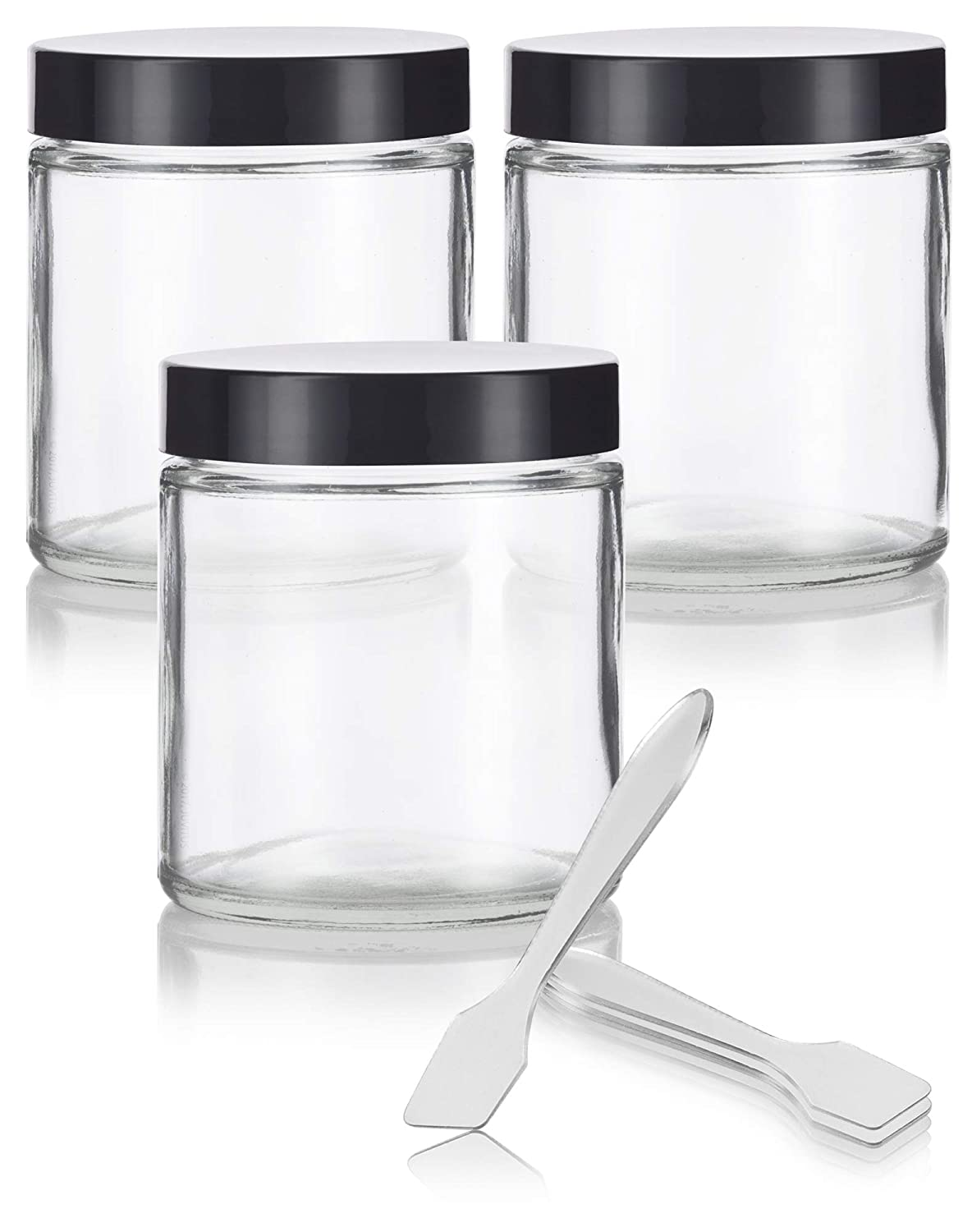 Clear Thick Glass Straight Sided Jar – 4 oz 120 ml 3 Pack Spatulas