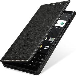 StilGut Book Type Case, custodia per BlackBerry Key2 a libro booklet in vera pelle con funzione on/off, Nero