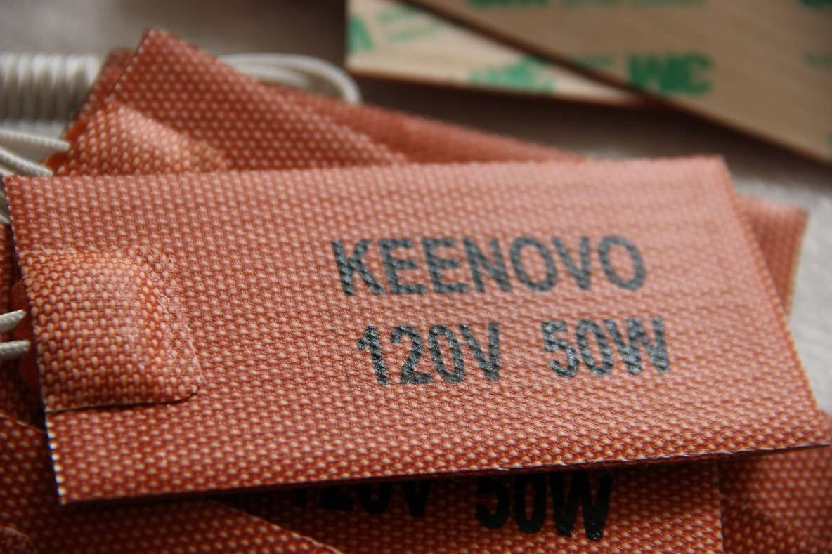 """2"""" X 4"""", 120V 50W, with 3M PSA, KEENOVO Universal Silicone Heater Mat/Pad,All Purpose Flexible Heater"""