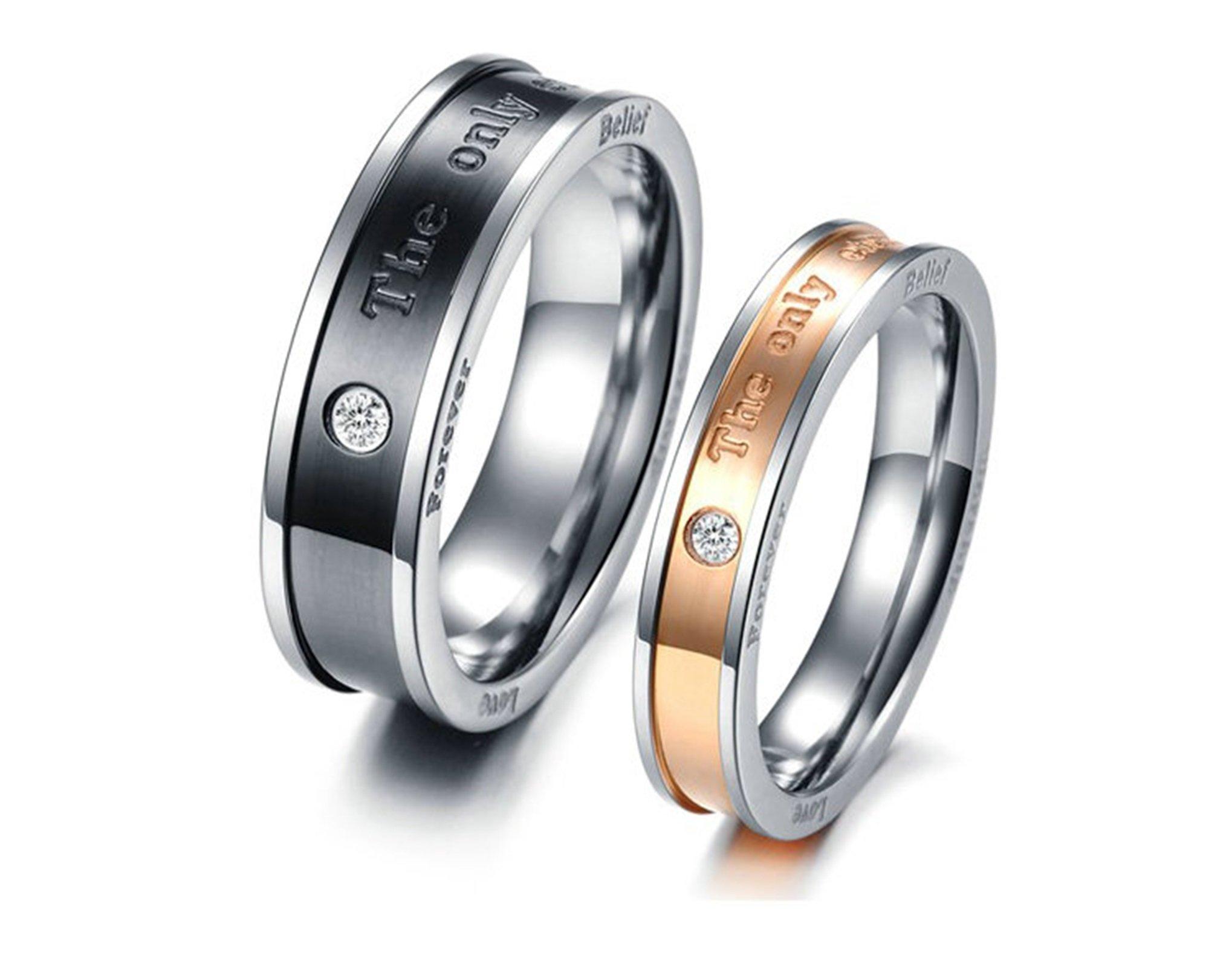 Beydodo 1PCS Stainless Steel Ring 7 Crystal Engraving The only eternal love Wedding Rings Mens by Beydodo