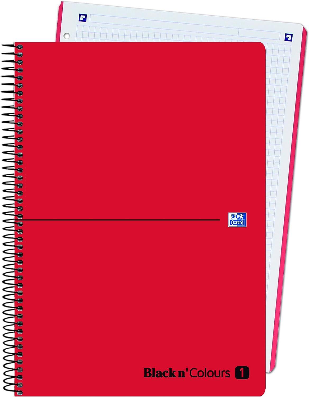 Oxford Black NColors - Bloc tapa plástico, cuadrícula 5x5, A4, color rojo: Amazon.es: Oficina y papelería