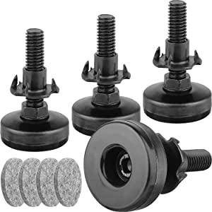 """Furniture Levelers Heavy Duty Furniture Leveling Feet Adjustable Leg Levelers for CabinetsSofa Tables Chairs Raiser, Support 1320LBs, T- Nut Kit 3/8""""-16 Thread, Large Base - 4 Pack,Black"""