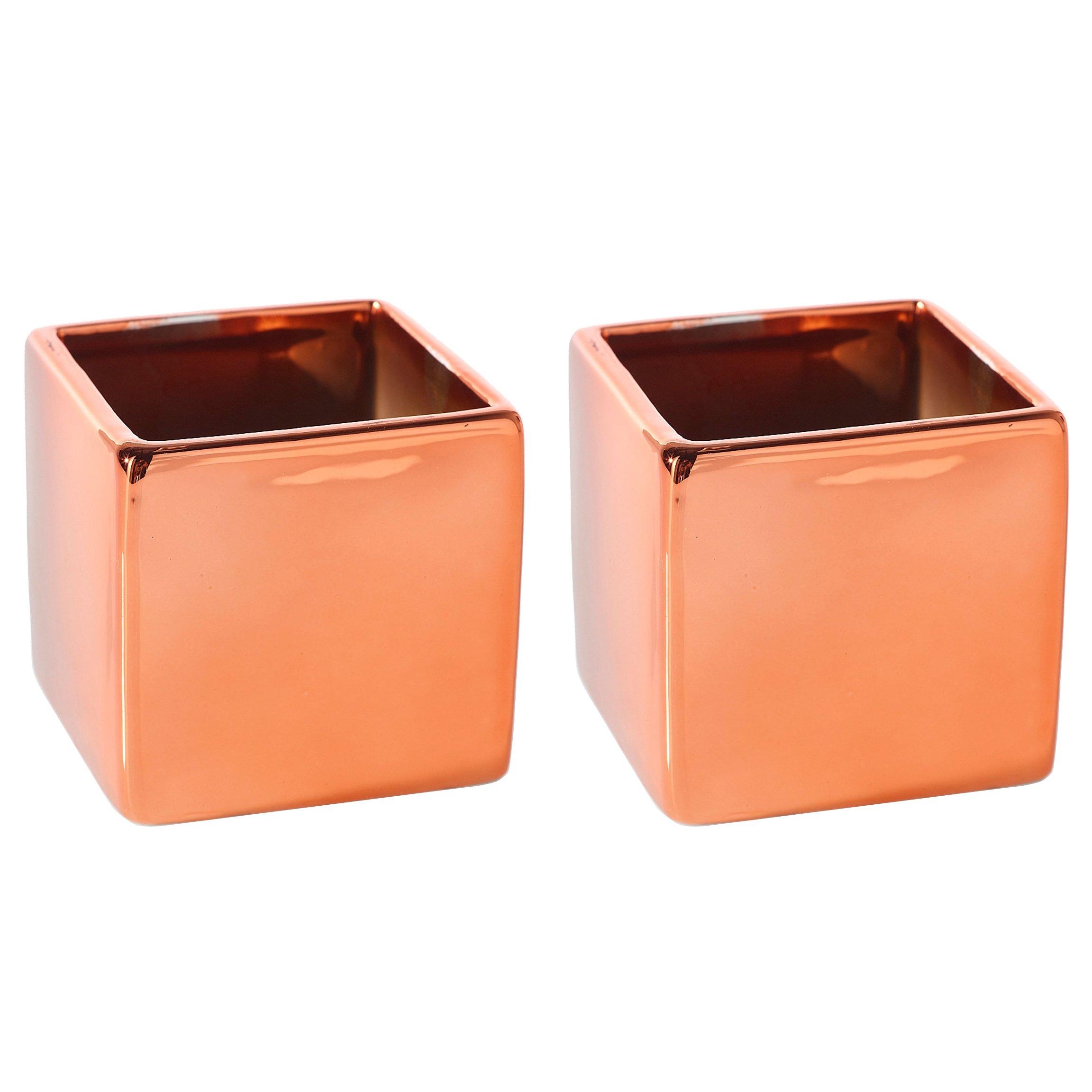 Copper Metallic Square Vase - Set of 2 - 3.25 x 3.25 Inches - Ceramic Urban Decor Pot - Small Modern Cube Planter for Office or Home