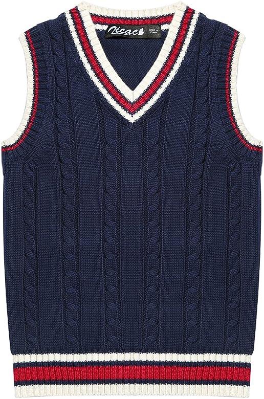 Kids Boys Knit Vest Sleeveless Knitwear School Tank Top Sweater