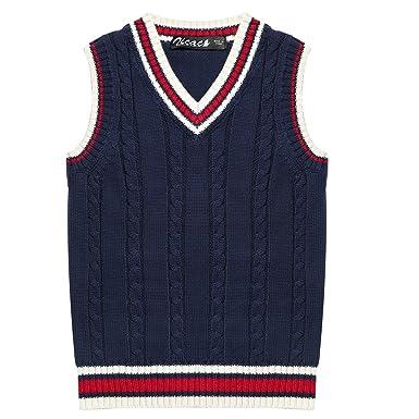 070377e2f Zicac Kids V-Neck Sweater School Knit Vest Uniforms Cotton Waistcoat ...