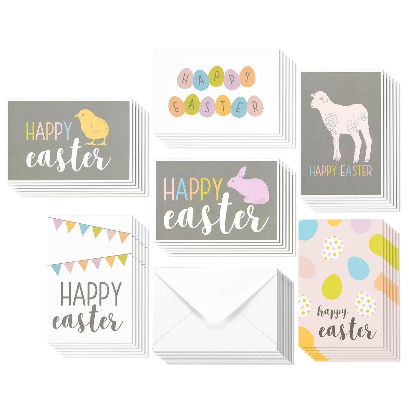 Best Paper Greetings 36pezzi Happy Easter vuoto all' interno, bigliettini per bambini–Coniglietto di Pasqua, coniglietti, uovo di Pasqua, Pasqua coniglio colori pastello design–Scatola assortimento di biglietti di auguri–10,2x 15,2cm Juvale