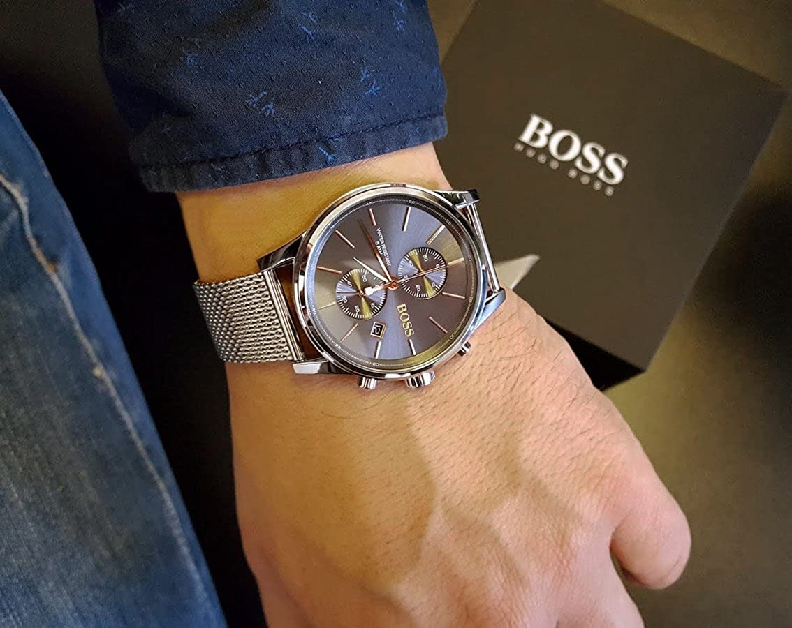 e281e0b83 HUGO BOSS Men's Chronograph Quartz Watch with Stainless Steel Bracelet -  1513440: Amazon.co.uk: Watches