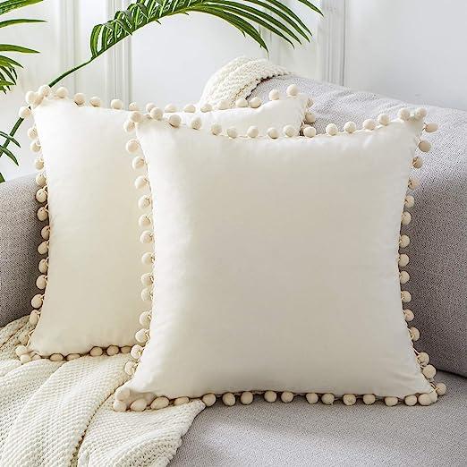 Amazon Com Top Finel Cream Decorative Throw Pillow Covers 22 X 22