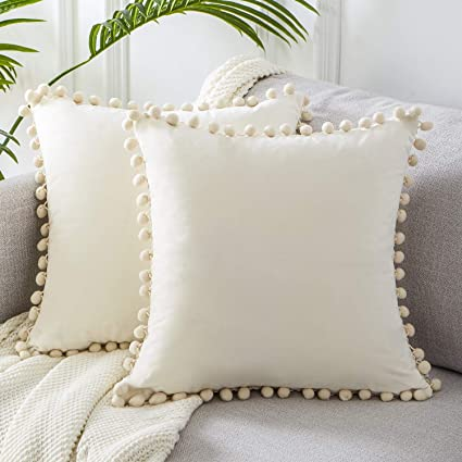 Top Finel Square Decorative Throw Pillow Covers Soft Velvet Outdoor Cushion Covers 18 X 18 with Balls for Sofa Bed, Set of 2, Cream