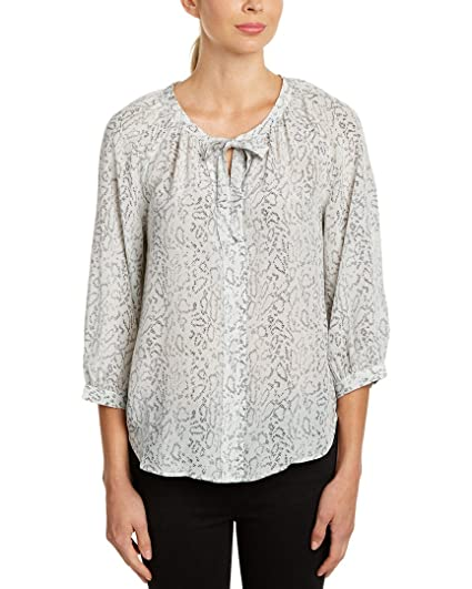 5a231d1514f9cf Joie Women's Madera Animal Printed Silk Tie-Front Blouse, Charcoal (X-Small