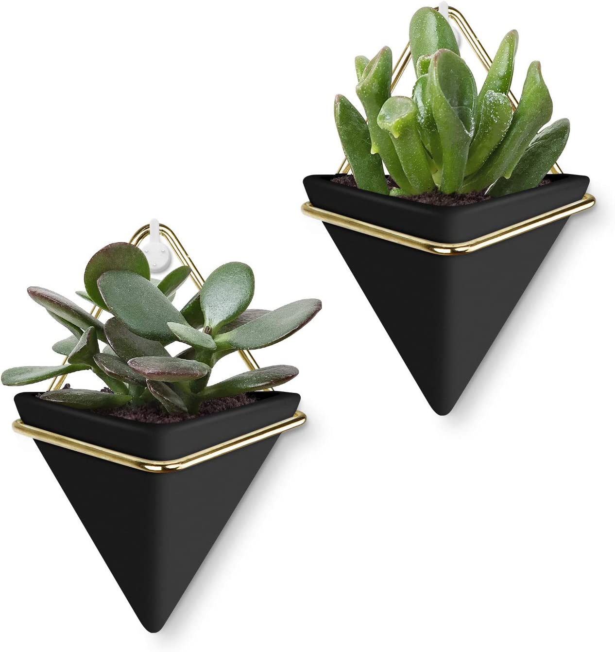 Yizhi Ceramic Hanging Planter Indoor Wall Planter Triangle Plant Pots, Set of 2 Geometric Vase Wall Decor Containers for Succulent, Cactus, Air Plants, Faux Plants(Small, Black-Gold)