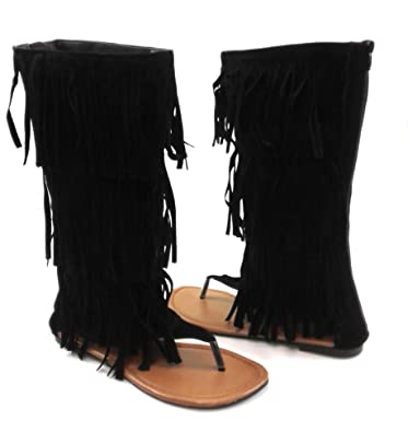 534dbded639c Amazon.com  Womens Fringe Thong Flat Gladiator Sandals Anika-66  Shoes