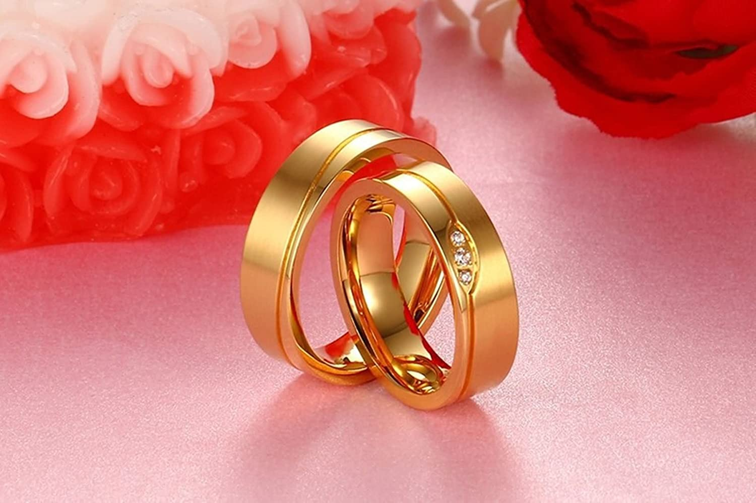 AnazoZ 2PCS Engagement Ring Set Stainless Steel Matte Finished Gold ...