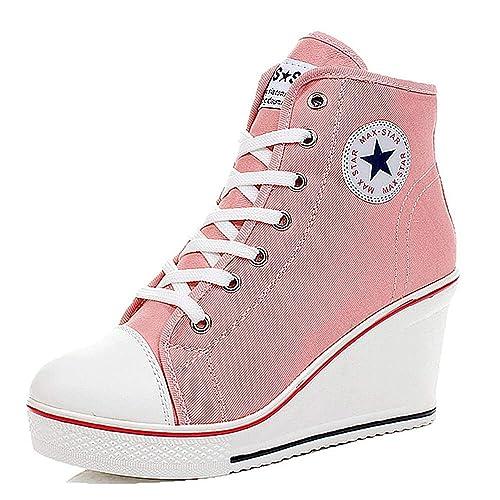 9bb7aeb4112 Mujer Cuñas Zapatos De Lona Qimaoo High-Top Zapatos Casuales Encaje Hebilla  Cremallera Lateral Tacón Cuña 8CM  Amazon.es  Zapatos y complementos